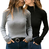 Women Winter Warm Long Sleeve Casual Fitness Turtleneck Pullover Sweater Tops
