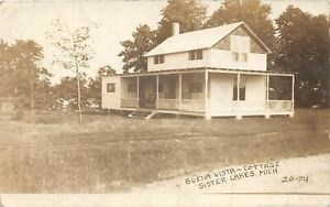 H2/ Sister Lakes Michigan RPPC Postcard Dowagiac Buena Vista Cottage