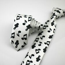 Unisex Novelty Fancy Dress White & Black Musical Note Skinny Tie - Brand New
