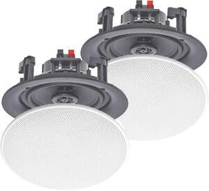 "Pair 8"" Ceiling Speakers 180W White Moisture Resistant with Polymer Tweeter B..."