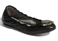 NEW VERA WANG LAVENDER Latisha Ballerina Flat Size 7 Black Nappa/Crystal Shoes