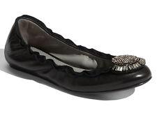 NEW VERA WANG LAVENDER Latisha Ballerina Flat Size 7 Black Nappa/Crystal Shoes