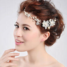 Silver Crystal Pearls Flower Hair Pin Wedding Bridal Headband Comb Hairpin X 3