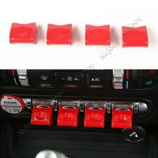 4X Red ABS Center Control Adjust Switch Button Cover Trim For Ford Mustang 15-17