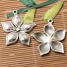 5pcs dark silver color flower design  charms  EF2730