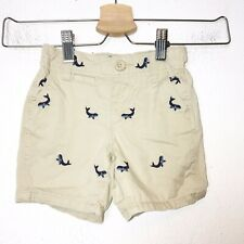 Baby Gap Boys Tan Embroidered Whale Chino Shorts Size 12-18 Months
