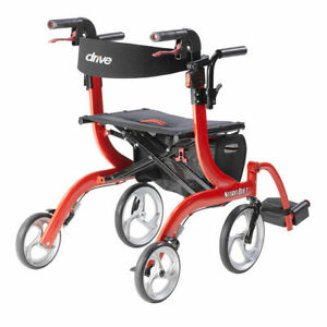 NEW Drive Medical Nitro Duet Rollator Walker and Transport Wheelchair Chair, Red