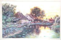 Aquarell Flusslandschaft mit Häuser Monogrammist CW. 1948