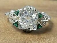 1.24ct 20k white gold Vintage art deco filigree round diamond ring circ 1920's