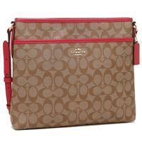 NWT Coach F58297 Signature File Bag Crossbody Purse in Khaki Bright Pink $225