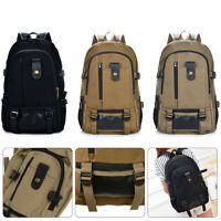 Mens Canvas Large Backpack Rucksack Work Sports Travel Hiking College School Bag
