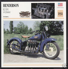 1931 Henderson KL 1301cc Four-Cylinder 1300 American Motorcycle Photo Spec Card