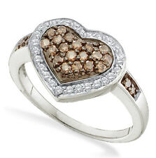 Chocolate Brown & White Diamond Ring 10K White Gold Heart Cluster .50ct Large