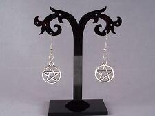 Tibetan Silver Pentagram,925 Sterling Silver Hook Dangle Earrings.Handmade