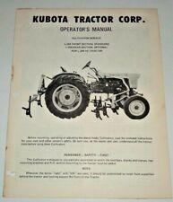 Kubota L 244 L 250 Cultivator Operators Manual Original Fits L 245 Hc Tractor
