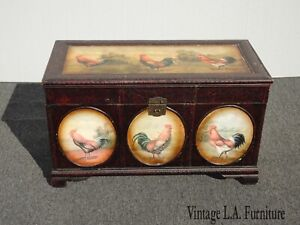 Vintage French Country Trunk Chest Rooster's Painted All Sides Farmhouse Chic