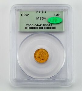 1862 Gold $1 Indian Princess Graded by PCGS as MS-64 with CAC