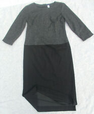 Lands End size 4 T Tall Gray Black Wool Knit Lined Long Sheath Dress S PERFECT