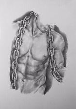 A4 Erotic Art Pencil Drawing Nude Man Portrait Gay Interest