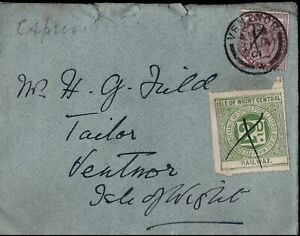 1901 1d Lilac & Isle of Wight Central Railway Stamp Ventor CDS