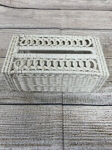 Vintage White Wicker Rattan Tissue Box Kleenex Box