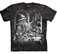 Wizard Dragon Legendary Magical The Mountain Fantasy Grey Cotton T-Shirt S-3X