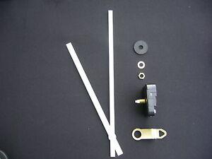 HIGH TORQUE CLOCK MOVEMENT MEDIUM SPINDLE 250MM WHITE BATON METAL HANDS