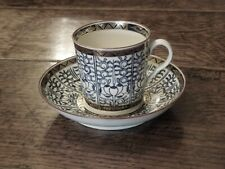 Worcester  Chamberlain  'Royal Lily'  coffee cup & saucer  C1790-1810.  Perfect