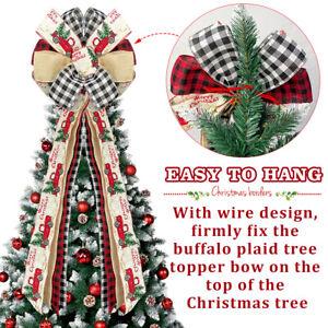 Christmas Tree Topper Bow w/ Streamers Handmade Rustic Xmas Tree Decor Ornament