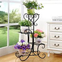 7 Tier Metal Plant Stand Garden Decor Planter Holder Flower Pot Shelf Rack Black