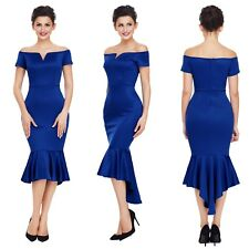 Abito scollo Coda Svasato Cerimonia Festa Ballo Party Mermaid Evening Dress M