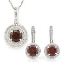 Set Zara, Anhänger/Ohrstecker, 925 Silber, 3,038 Kt. echter Granat/Diamant