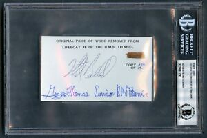 George Thomas & Robert Ballard signed 3x5 w/ Wood from Titanic Lifeboat #6 BAS