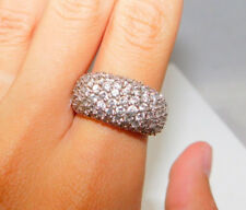 Wide Anniversary Band Pave CZ Rhinestone Sterling Silver sz 7.5 Ring 10i 12