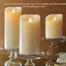 Set of 3 Luminara Ivory Wax Flameless Moving Wick Candle Free Remote Vanilla