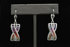 925 Sterling Silver A Deco MultiColor Rainbow Princess Sapphire Dangle Earrings