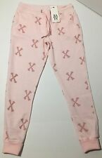 Zoe Karssen Womens Primrose Pink Bones Cotton Blend Jogger Sweatpants Small NWT
