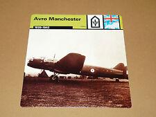 AVRO MANCHESTER 1939-1942 RAF ENGLAND AVIATION FICHE WW2 39-45