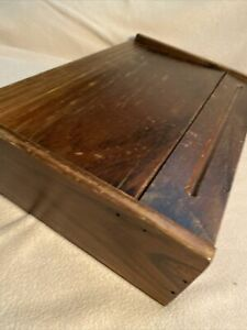 Vintage Wood Writing Art Desk Hinged Lid Slant Slope Top Lap Desk