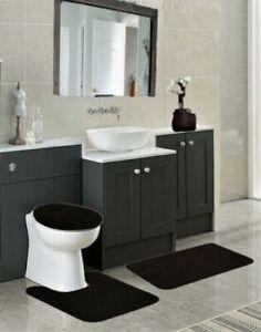 NEW 3PC BATHROOM SET INCLUDES 1 BATH RUG 1 CONTOUR MAT 1 TOILET LID COVER BLACK