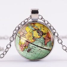 World Globe Atlas Map Travel CABOCHON Pendant Silver Necklace Vintage Jewellery