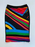 VERY VERY funky 90s retro colourful stretch pencil skirt size 10 Aust made