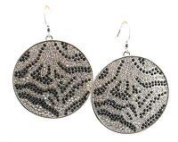 Zest Swarovski Crystal Disk Earrings for Pierced Ears Black & Silver
