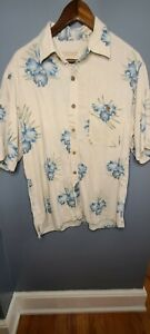 Island Republic 100% Silk shirt Large Hawaiian Mens Camp EUC LN Cream Floral
