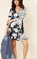 Influence Dress Size 8 12 & 14 Black Zebra Floral Mixed Print Frill Hem new HM28