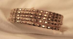 Lovely Set of 5 Pressed Pebble-Textured Goldtone Bangle Bracelets
