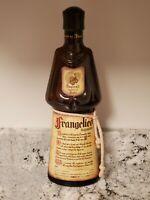 VINTAGE FRANGELICO LIQUEUR BOTTLE BROWN GLASS MONK SHAPE PRODUCT OF ITALY W/BELT