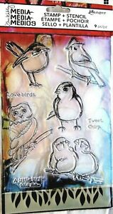 Little Birdies Bird Dina Wakley Media Clear Acrylic Stamp & Stencil Set MDZ49548