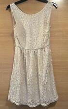 Lace Floral Pattern Beige Sand Size 8 Stretch Tea Summer Mini Dress Sleeveless