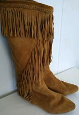 Sam Edelman Utah Women's Tall Brown Suede Fringe Moccasin Boho Boots Size 6.5 M